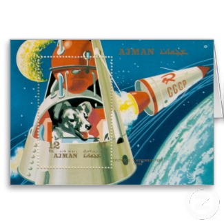 laika first dog in space notecard