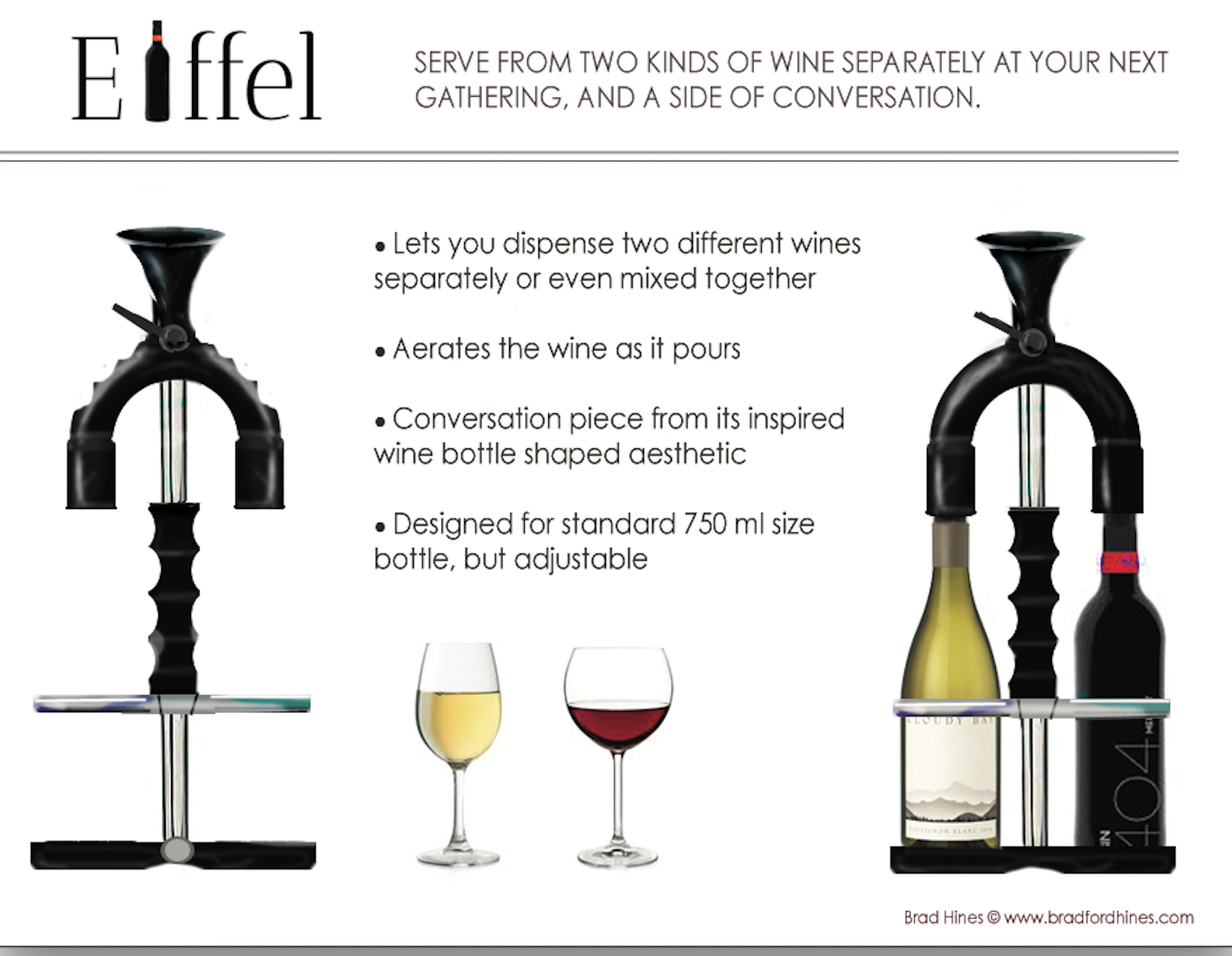 Eiffel wine pourer by brad hines